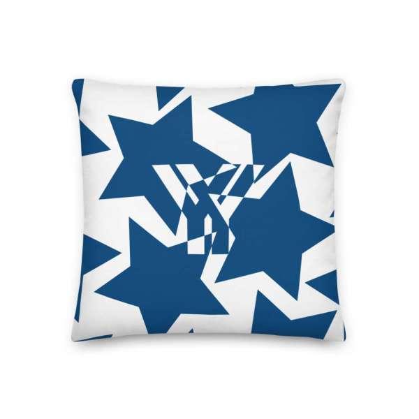 Dekoratives Sofa Kissen • Throw Pillow • Stars Blue on White 1 mockup 1215c268