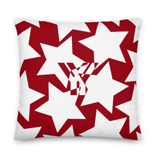 Dekoratives Sofa Kissen • Throw Pillow • Stars White on Red 5 mockup 2ab3cea0