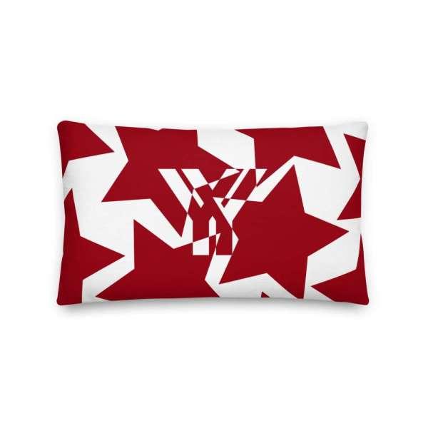 Sofakissen Sterne rot auf weiß 3 mockup 4385c9da