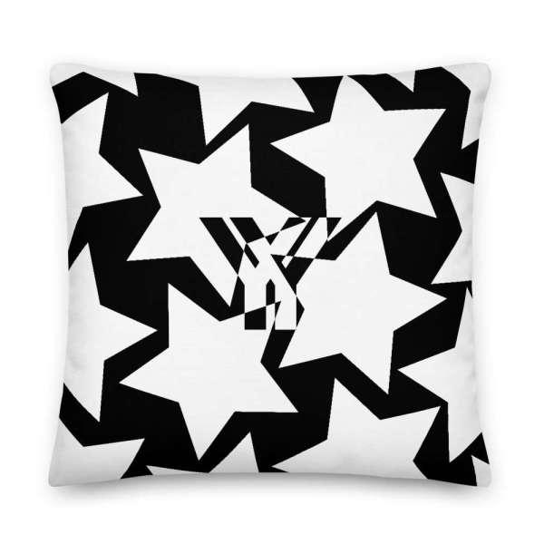Dekoratives Sofa Kissen • Throw Pillow • Stars White on Black 5 mockup 592113b1
