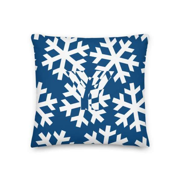 Dekoratives Sofa Kissen • Throw Pillow • Snowflakes White on Blue 1 mockup 7acf2e46