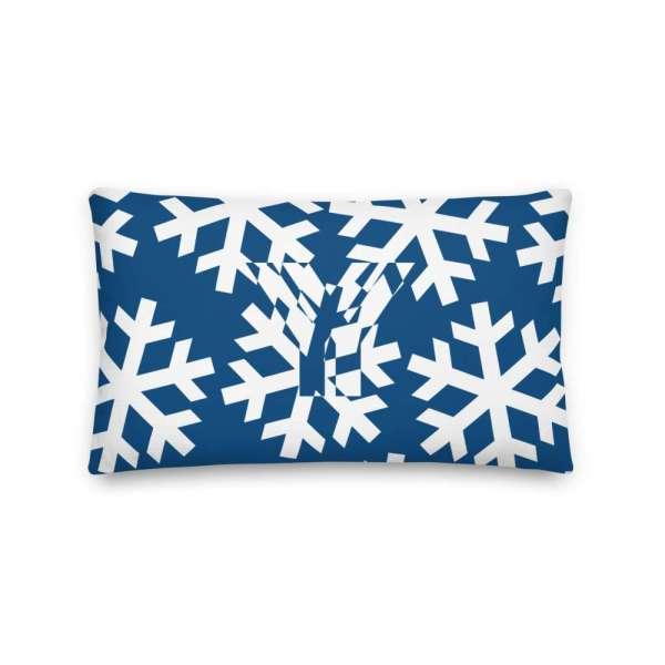 Dekoratives Sofa Kissen • Throw Pillow • Snowflakes White on Blue 3 mockup 8a66b654