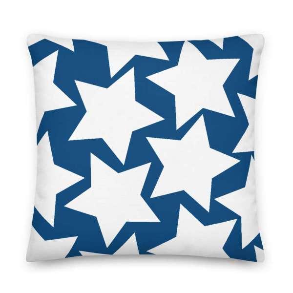Dekoratives Sofa Kissen • Throw Pillow • Stars White on Blue 6 mockup df537a0f