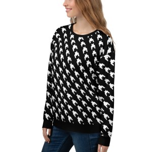 women sweatshirt black white houndstooth 15