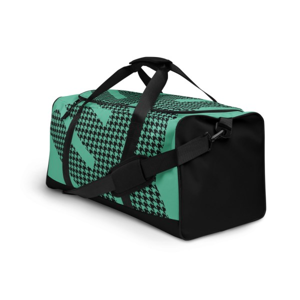 Weekender Houndstooth Logo Fresh Mint Black 4 all over print duffle bag white left front 60565ca60a2f9