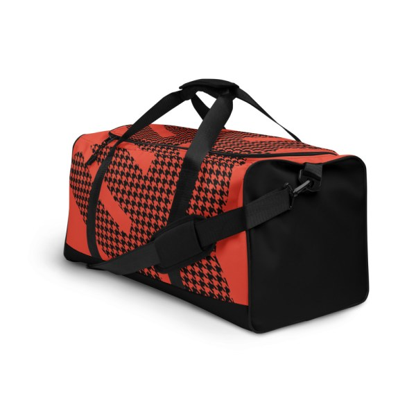 Weekender Houndstooth Logo Mandarin Red Black 4 all over print duffle bag white left front 60579514a6902