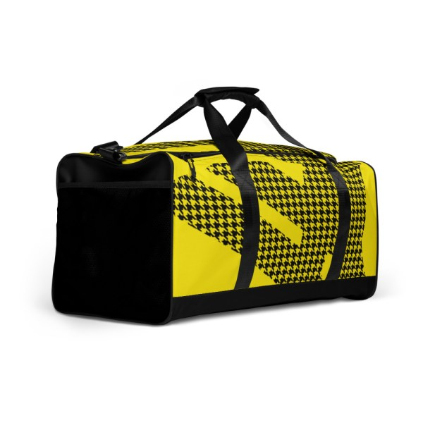 Weekender Houndstooth Logo Deluxe Lemon Black 3 all over print duffle bag white right front 6057936921e4a