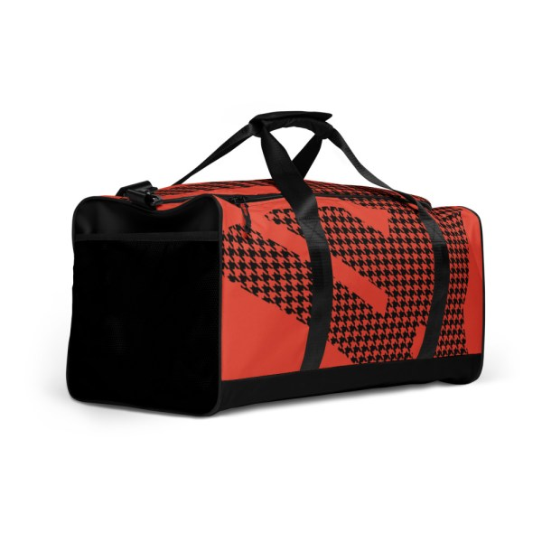 Weekender Houndstooth Logo Mandarin Red Black 3 all over print duffle bag white right front 60579514a68a1