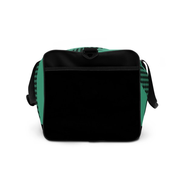 Weekender Houndstooth Logo Fresh Mint Black 5 all over print duffle bag white right side 60565ca60a3c9
