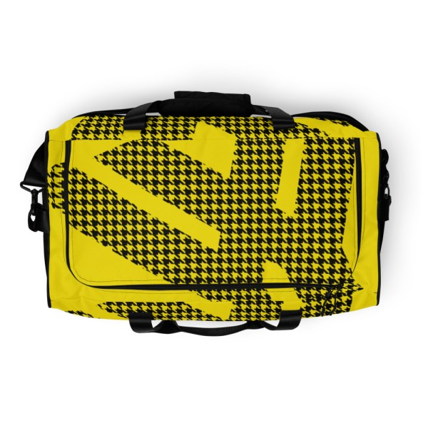 Weekender Houndstooth Logo Deluxe Lemon Black 7 all over print duffle bag white top 60579369220e6