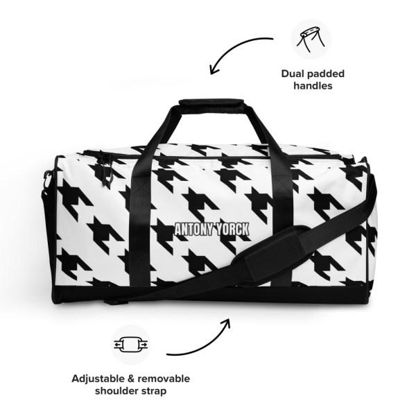 sporttasche trainingstasche houndstooth black white front left view detail