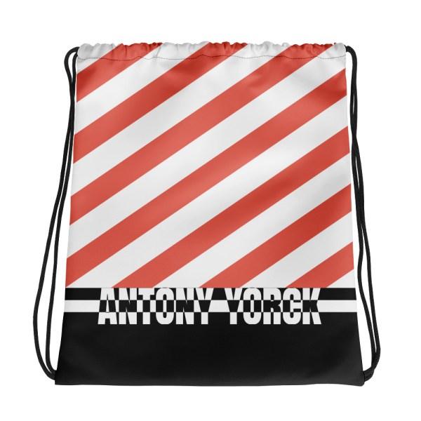 Designer Strandbeutel mit Kordelzug im Turnbeutel Design weiß rot 2 all over print drawstring bag white back 60c089229c857