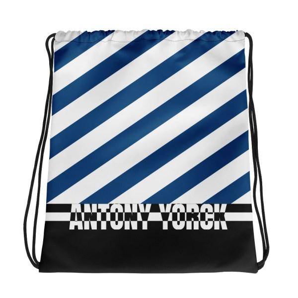 Designer Strandbeutel mit Kordelzug im Turnbeutel Design blau weiß 2 all over print drawstring bag white back 60c08ada805d7