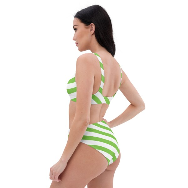 HIGH WAIST DESIGNER BIKINI STRIPES ALL OVER aus Recyclingmaterial grün weiß gestreift 6 all over print recycled high waisted bikini white left back 60be5c06c6b60