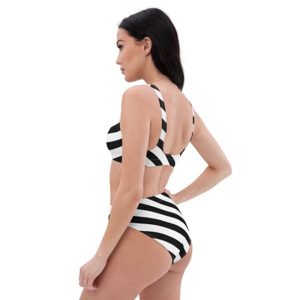 HIGH WAIST DESIGNER BIKINI STRIPES ALL OVER aus Recyclingmaterial schwarz weiß gestreift 6 all over print recycled high waisted bikini white left back 60be5cedcdc55