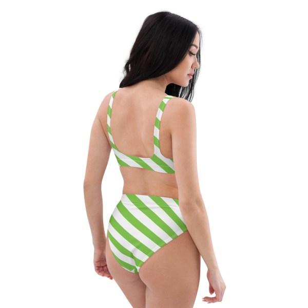 HIGH WAIST DESIGNER BIKINI STRIPES ALL OVER aus Recyclingmaterial grün weiß gestreift 5 all over print recycled high waisted bikini white right back 60be5c06c6a76