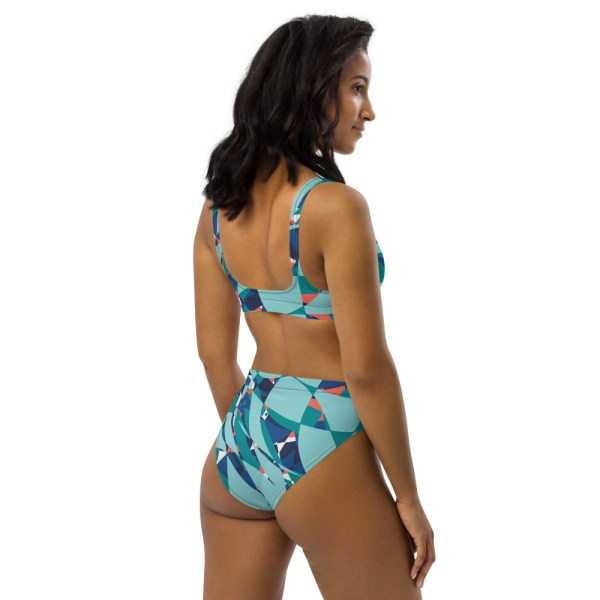 High Waist Designer Bikini aus Recyclingmaterial Under the Sea 5 all over print recycled high waisted bikini white right back 60be65a6b21a7