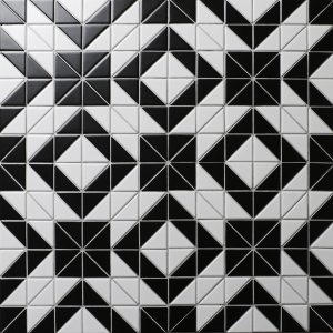 Shop   ANT TILE     Triangle Tiles   Mosiacs     Floors  Kitchen     Cheap Price 2   Black White Triangle Tile  Porcelain Floor Tile Patterns  Online