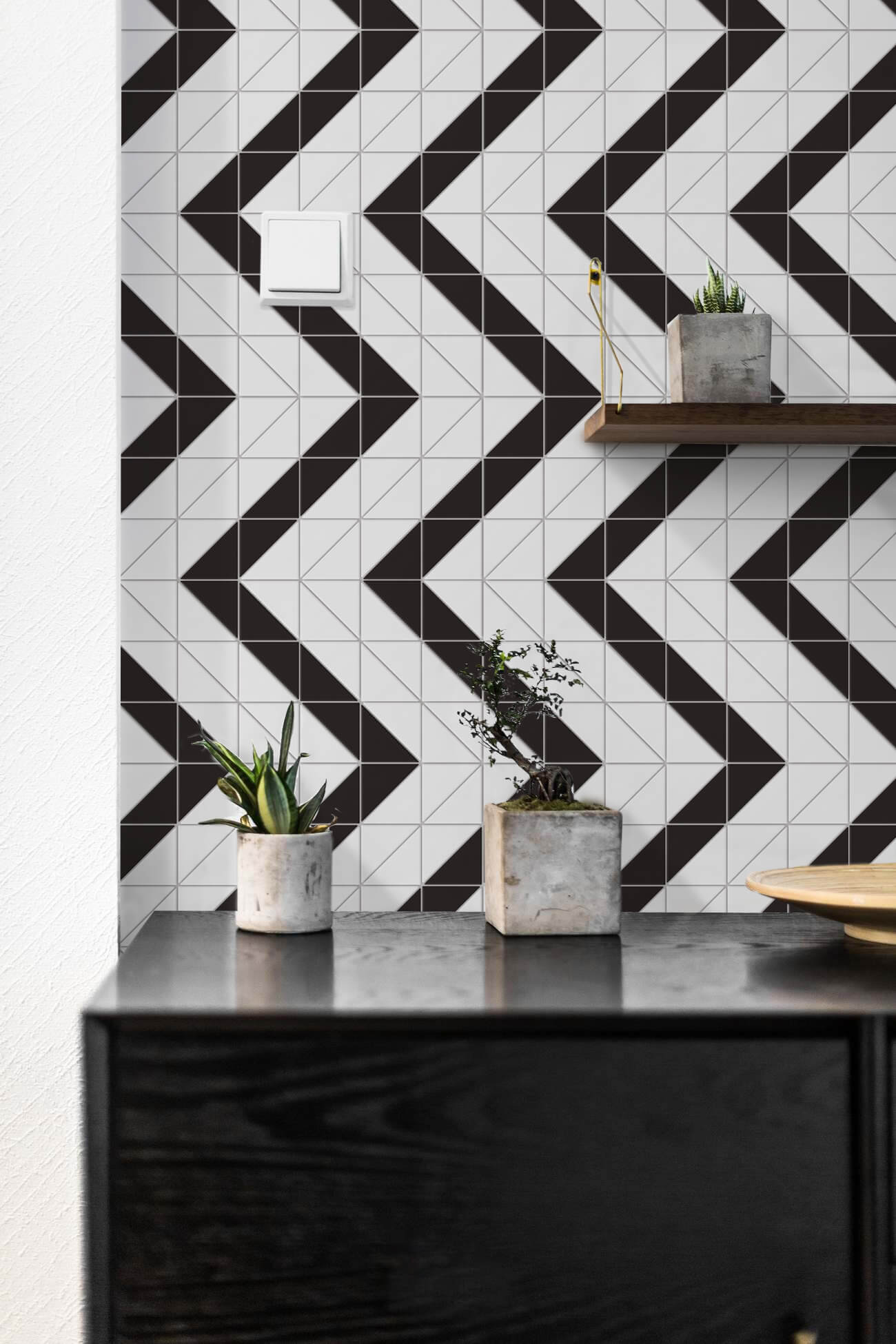white matte porcelain geometric tile