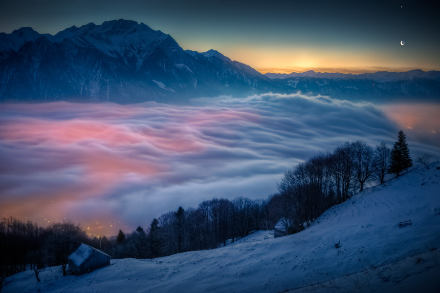 Luna y Venus sobre Suiza