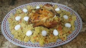 الدجاجة بالخضر و الروز