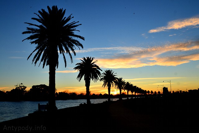 Zachód słońca w Australii, Albert Park, Melbourne
