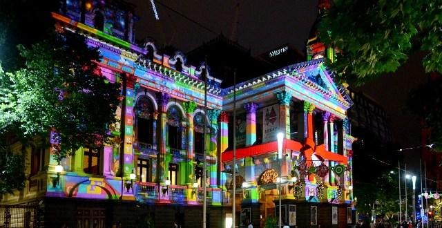 Ratusz w Melbourne, świąteczna projekcja świetlna, Święta w Australii
