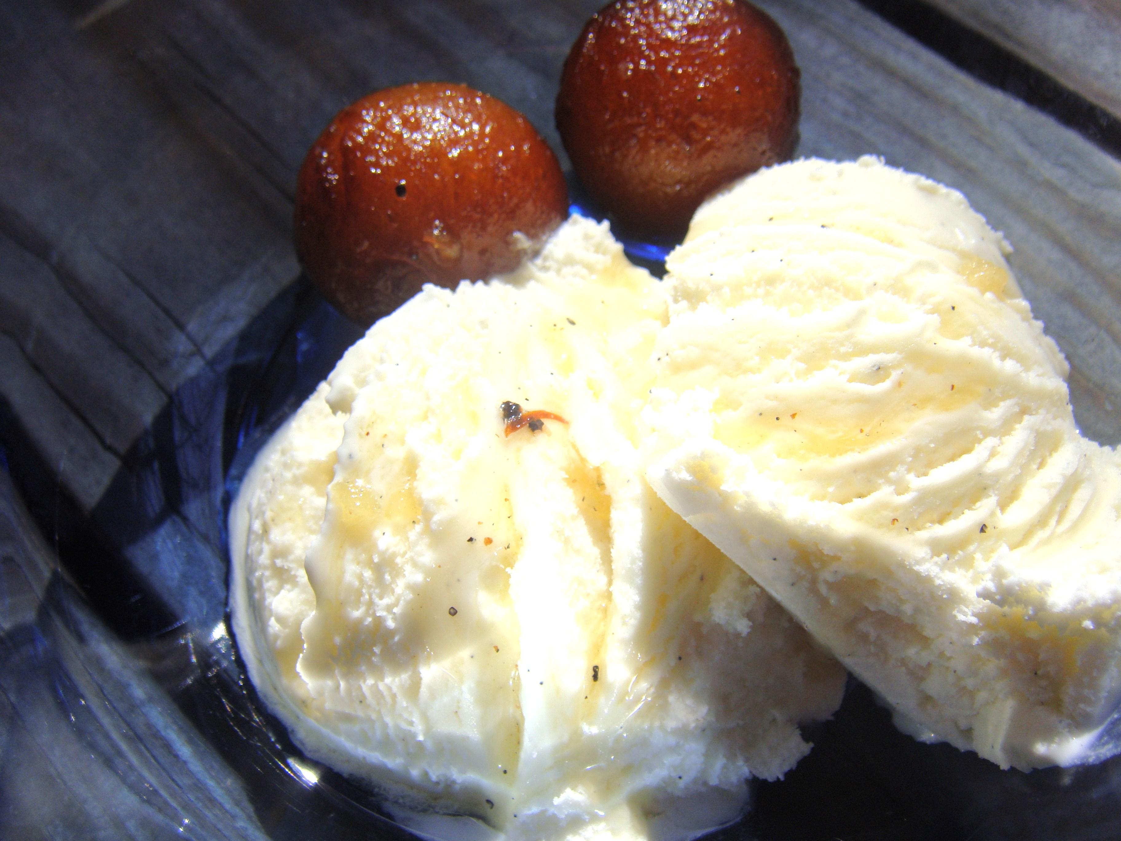 Jamuns with Vanilla Ice Cream.