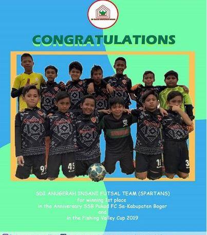Tim Futsal SD Islam Anugerah Insani Juara 1 Anniversary SSB Pukad FC Se-Kabupaten Bogor and Fishing Valley Cup 2019
