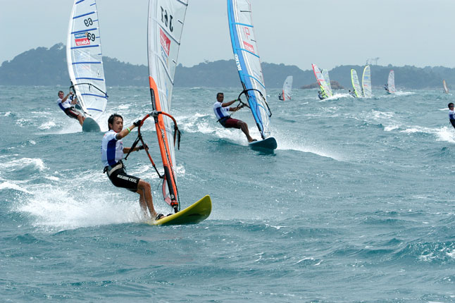 Wind surfing activities in Bintan Resort beach