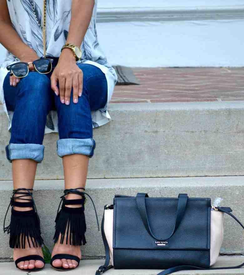 black fringe heels