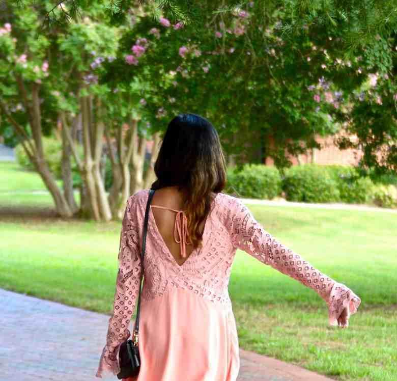 tie back blush dress