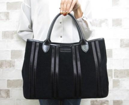 極美品■ロンシャン LONGCHAMP■トート バッグ コーデュロイ レザー レザー ブラック A4可 大人鞄 ah8143
