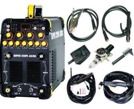 【スーパースペック】交流/直流 インバーター TIG溶接機+プラズマカッター SUPER220PL AC/DC!パルス溶接 単相100V/200V 鉄 ステン アルミn