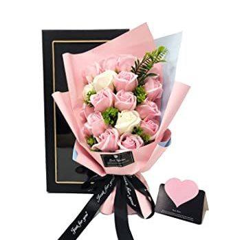 ピンク+ホワイト ソープフラワー プレゼント 母の日 バレンタインデー 誕生日 黒外箱+黒リボン Kiranic 造花 ブーケ