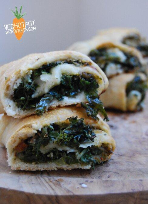 Butter Bean, Pesto, Kale Stromboli by VegHotPot