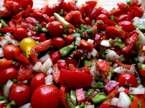 roasted tomatoes and peppers