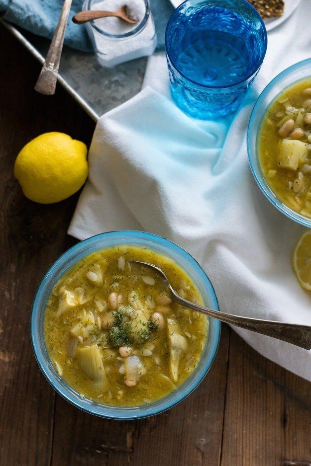 Lemony White Bean Potato Artichoke Orzo Soup by An Unrefined Vegan