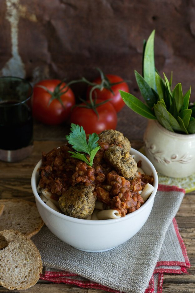 Arrabiata Ragu Pasta with Meatballs by An Unrefined Vegan