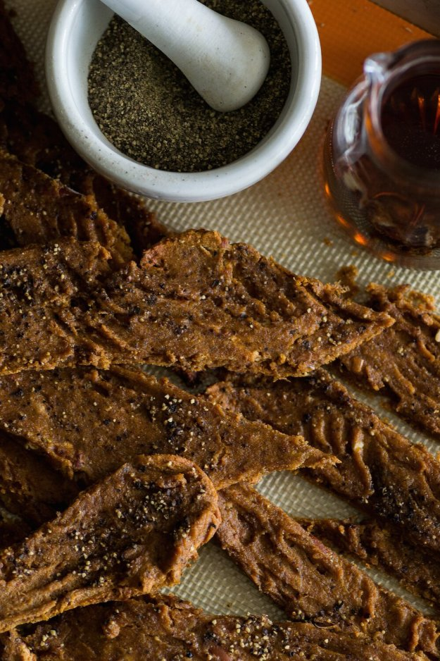 Vegan Maple Black Pepper Tofu Jerky by An Unrefined Vegan