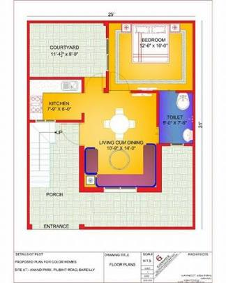 800 sq ft duplex villas-color homes Ground floor
