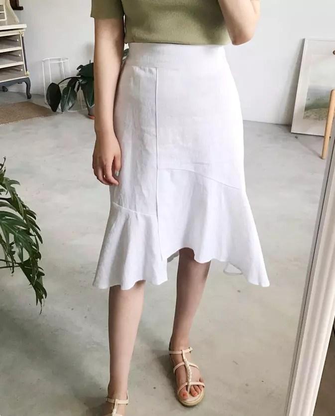 正韓 前開衩不規則裙襬鬆緊圓裙 made in korea | Arte White