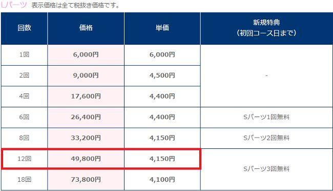 TBC価格表