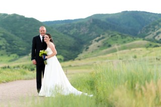Kevin and Ellery pose during their Manor House Wedding on June 26, 2016, in Littleton, Colorado.