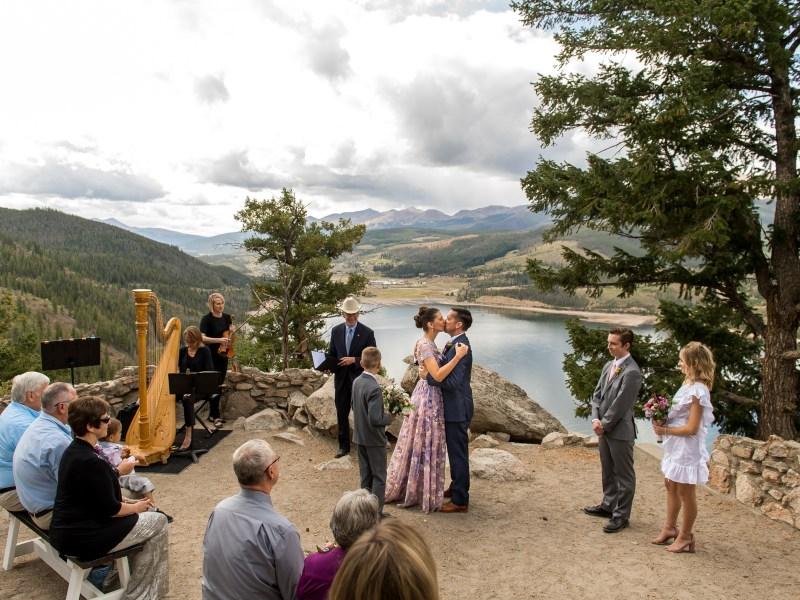 Sapphire Point Wedding photos in Breckenridge, Colorado, near Dillion Reservoir.