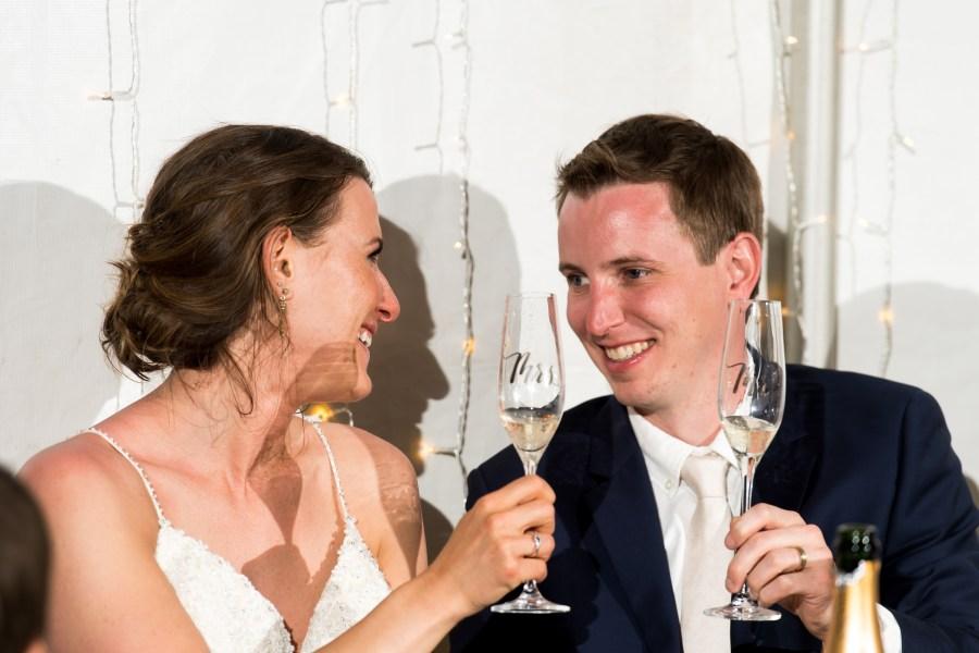 Bride and groom toast during a backyard wedding in Colorado