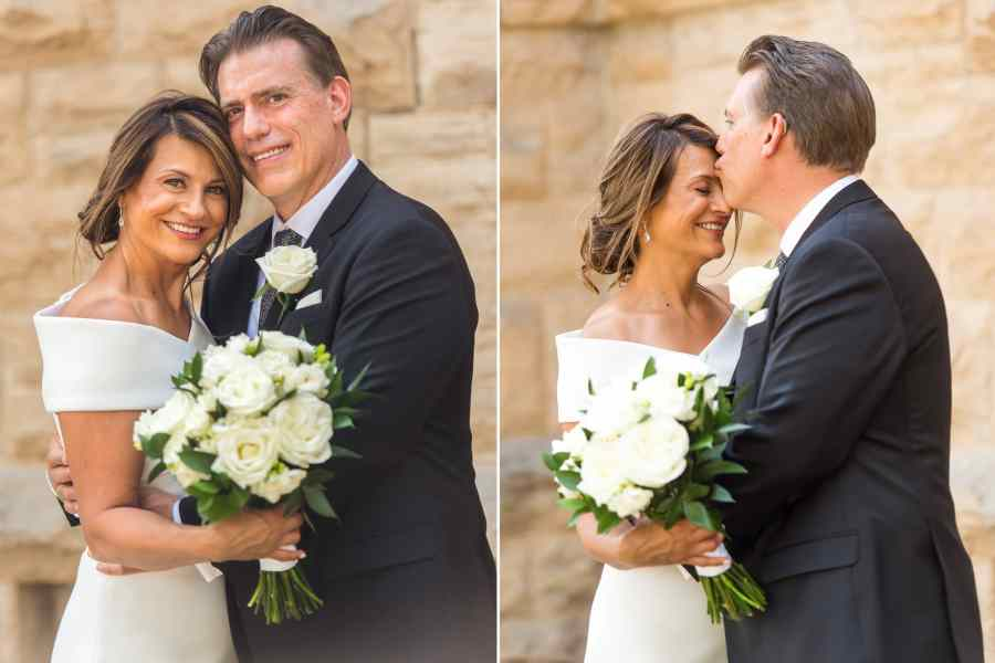 Bride and groom pose for their St. Joseph Fort Collins Catholic Church wedding photos on Aug. 8, 2020, in Colorado.