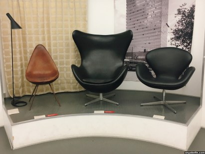 "Arne Jacobsen chairs displayed in the exhibition ""Danish Design Now"""
