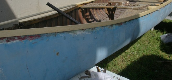 New Gunwales For My Old Town Guide Canoe - see the sanding that was done on the hull before the new wood was epoxied on.