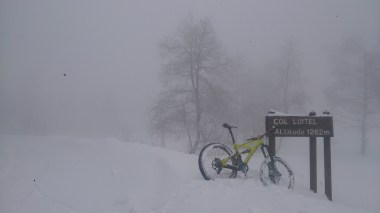 The visibility was a bit rubbish at the top at 1265m and the snow was pretty deep!